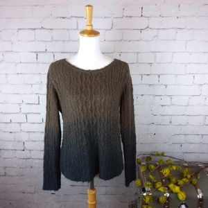 Kenar ombre cable knit sweater w/ zippered back
